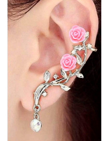 Cercei ear cuff pereche, ramurele cu mici cristale si trandafiri