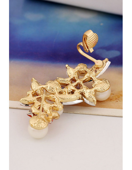 Cercel tip ear cuff, model cu cristale de diverse forme si culori si perle