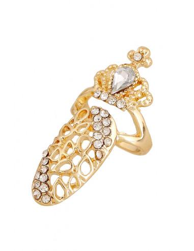 Inel pentru unghie, model cu coroana si cristale