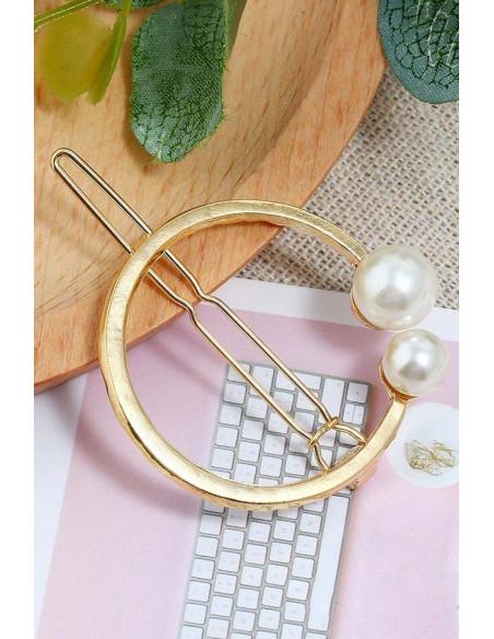 Agrafa pentru par aurie, model cu cerc si doua perle albe