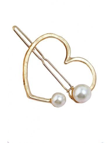 Agrafa pentru par aurie, model cu inimioara si doua perle albe