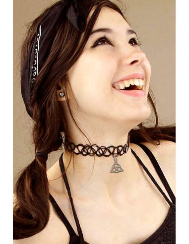 Colier tattoo choker negru cu Triquetra si elastic la baza gatului