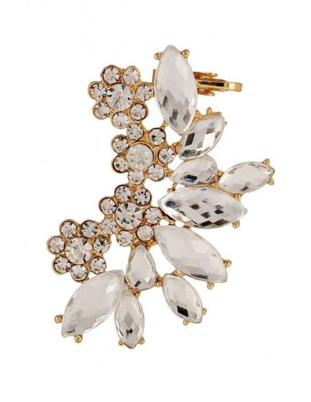 Ear cuff luxury, flori rotunde si cristale mari cat-eye, fatetate