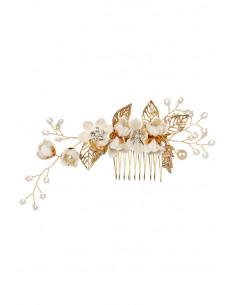 Pieptene de par din fir delicat impletit cu flori textile, cristale, frunze si perle