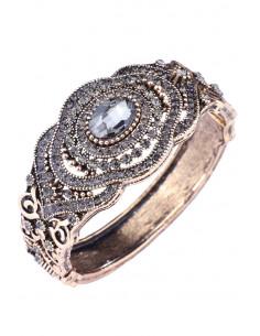 Bratara vintage glam, cuff cu balama, cu floare, cristal oval si hematite