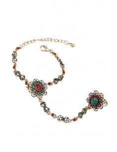 Bratara arabeasca cu inel, medalioane florale cu cristale verzi, rosii, albe si hematite