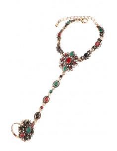 Bratara arabeasca cu inel, medalioane florale cu cristale verzi, rosii si albe
