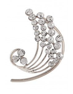 Cercel ear cuff, paun stilizat cu cristale rotunde