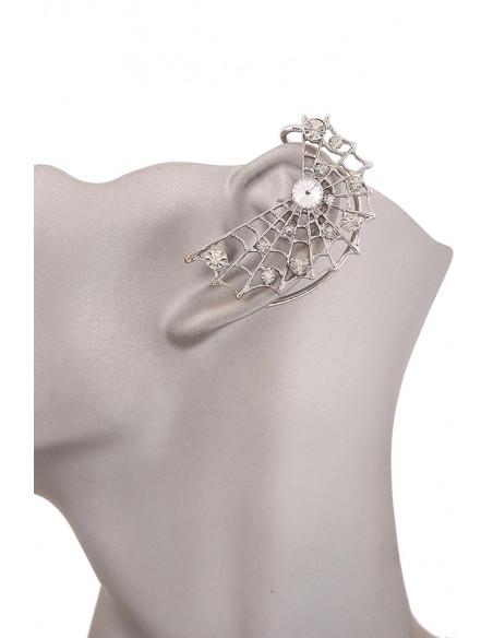 Cercel ear cuff, panza de paianjen cu cristale rotunde