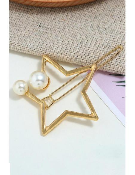 Agrafa pentru par aurie, model cu steluta si doua perle albe