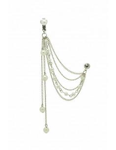Cercel tip ear cuff cu prindere dubla, lantisoare lungi cu perle