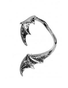 Cercel ear cuff, model aripa de dragon neagra, prindere dupa ureche