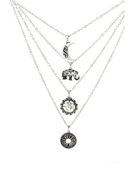 Colier multilayer cu patru lantisoare cu medalioane, semiluna, elefant, OM si zodiac