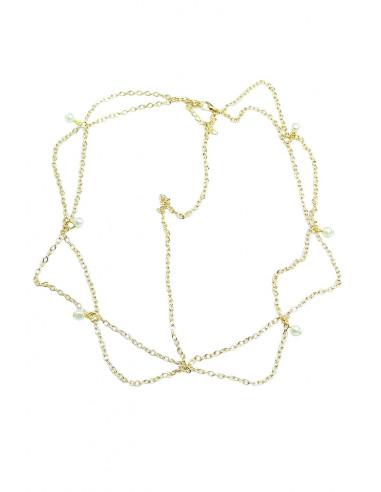 Bentita pentru par cu bucle din lantisoare si perle albe