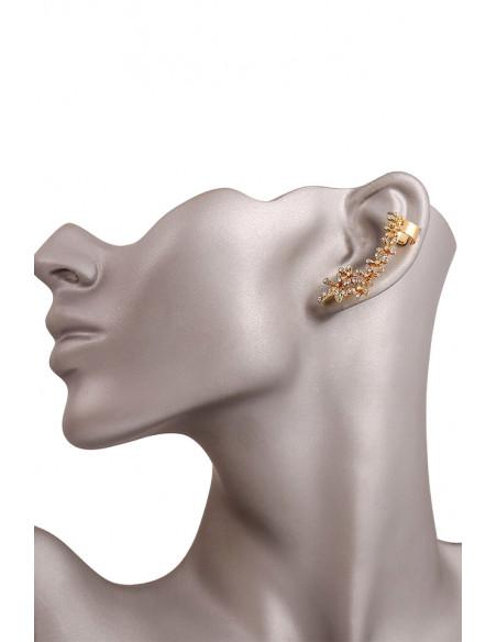 Cercel ear cuff cu floricele si cristale mici, pe toata urechea