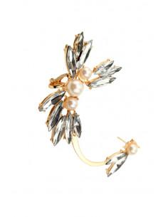 Cercel ear cuff elegant, Mariglod, flori cu cristale ascutite si perle