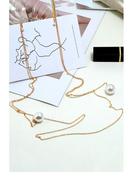 Cercei deosebiti, cu perle mari si clipsuri, legati intre ei cu lantisor lung