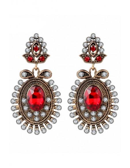 Cercei eleganti vintage Ruby Peacock, ovali, cristale rosii si albe