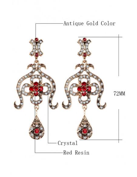Cercei eleganti vintage Princess Niloufer, candelabre cu cristale rosii si albe