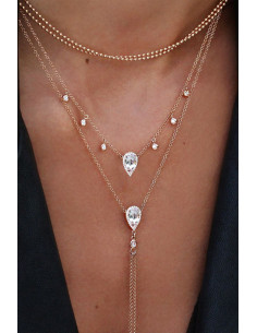 Colier minimal multilayer cu 4 lantisoare subtiri, medalioane lacrima cu cristale
