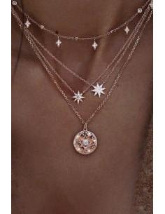 Colier minimal multilayer cu 4 lantisoare subtiri, stelute, soare, cristale si perle