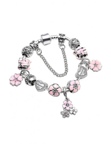 Bratara placata cu argint tip Pandora, cutii de cadou cu fundita, flori si inimioare