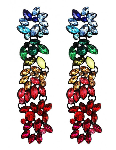 Cercei lungi statement, Rainbow River, cu cristale multicolore