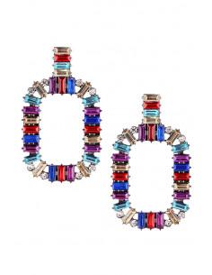 Cercei luxury geometrici, cu cristale fatetate multicolore dreptunghiulare