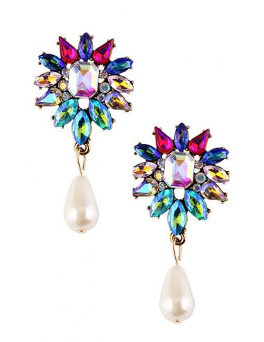 Cercei luxury, flori cu cristale fatetate si perla in forma de lacrima