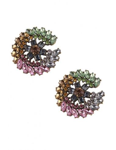 Cercei luxury, flori mari rotunde cu cristale fatetate