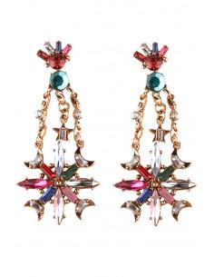 Cercei eleganti vintage, candelabru cu stele mari colorate si cristale