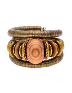 Bratara africana tip spirala, din inele metalice si margele din lemn