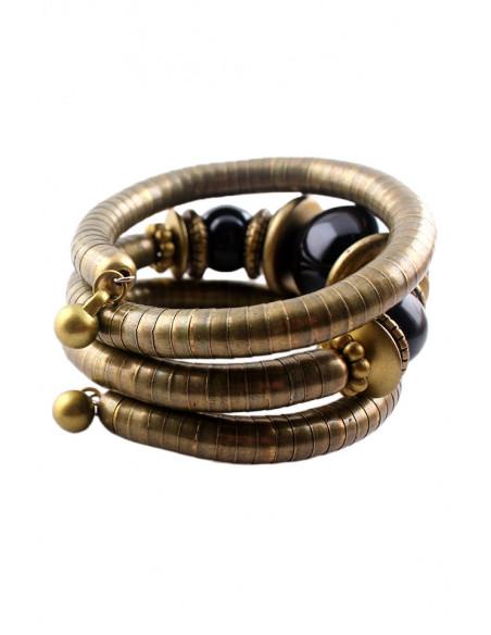 Bratara africana tip spirala, din inele metalice si margele mari lucioase