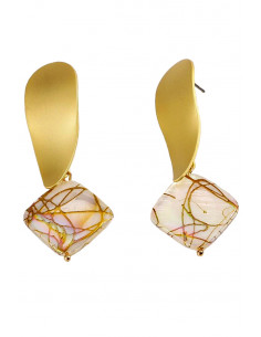 Cercei luxury delicati, cu medalioane romb perlate