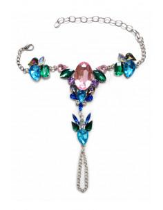 Bratara cu inel, pentru mana sau picior, cu cristale mari roz, albastre si verzi