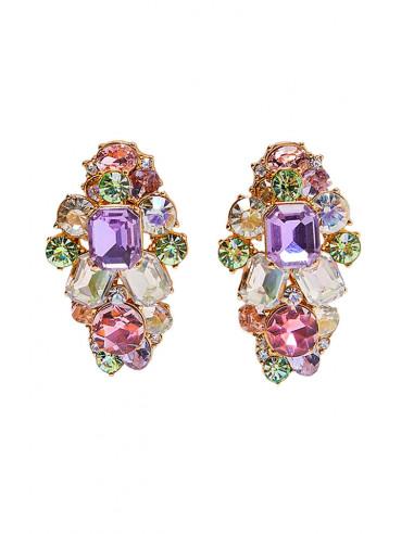 Cercei luxury Bright Cluster, cu cristale fatetate in culori pastelate