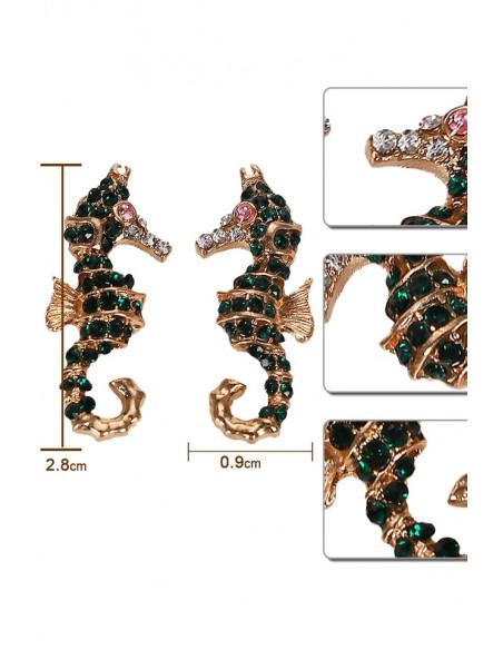 Cercei eleganti, caluti de mare decorati cu cristale mici verzi