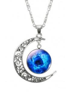 Lantisor argintiu cu semiluna si medalion rotund Universe