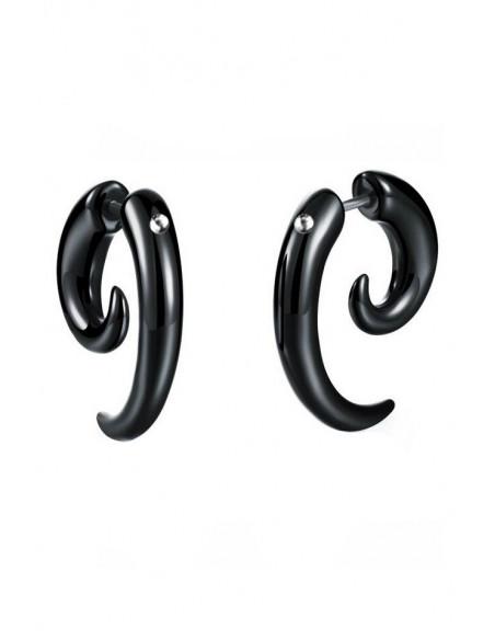 Ear expander fals, spirala din plastic negru