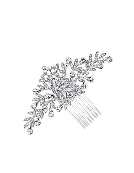 Pieptene de par pentru coc de mireasa, metalic cu flori si cristale albe