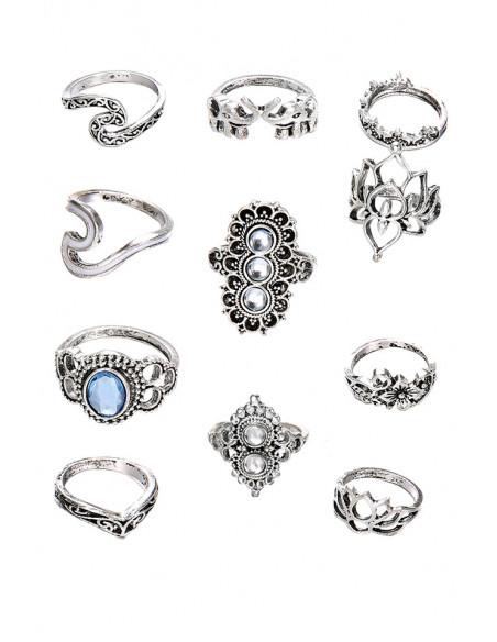 Set 11 inele boho cu cristale albe si bleu, elefanti si flori de lotus
