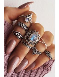 Set 8 inele boho cu cristale bleu, hematite si flori