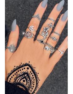 Set 12 inele boho cu cristal negru, elefanti, Om, Ank si flori