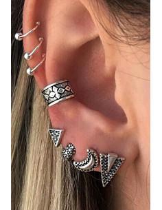 Set cercei si ear cuff cu triunghiuri, semiluna si verigute