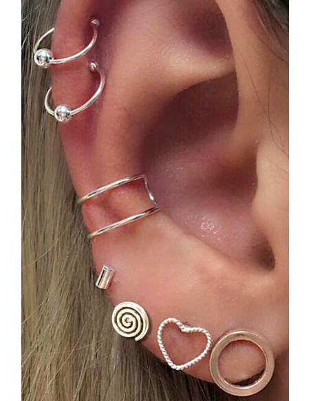 Set cercei si ear cuff cu spirala, inimioara si verigute