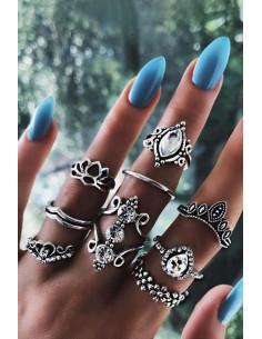 Set 8 inele boho cu cristale, flori si inimioara