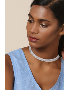 Choker lat luxury, rotund si rigid, decorat cu cristale rotunde