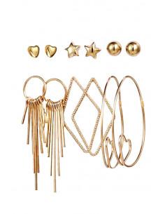 Set de 6 perechi de cercei, inimioare, hula hoops, stelute, romburi si tije