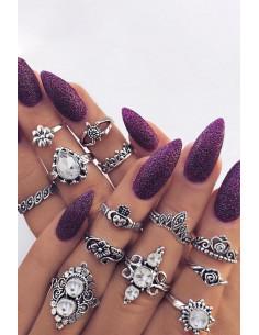 Set 13 inele boho cu cristale, broscuta, inimioare si flori