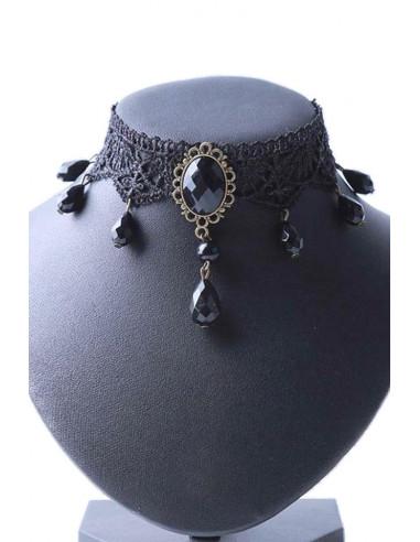 Colier choker elegant, din dantela ingusta, cu medalion vintage si margele